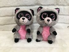 "SET OF 2 Ty Beanie Boo Rocco The Raccoon 6"" Pink Glitter Eyes Raccoons Bundle"