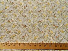 Authentic 50's 60s 70s VINTAGE Fabric Brocade Yellow Green Trellis Cream Floral