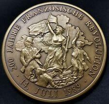 Bronzemedaille 200 Jahre Französische Revolution 14. Juli 1989 49,93g 50mm