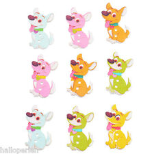 New 50PCs colours dog Pattern two holes wooden buttons Craft Diy 3.5cmx2.1cm