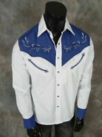 Mens Western Rodeo Cowboy Shirt White Blue Shoulder Embroidery Snap Front