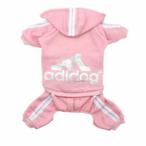 ADIDOG PET CLOTHES SWEATER HOODLE JEACKET 4 LEGS OUTFIT JUMPSIUIT(PINK)<4.5LBS