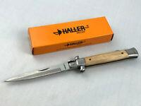 Haller Stiletto Taschenmesser Messer - Griffbeschalung aus Zebranoholz - 83225