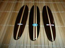 """(3) WOOD MINIATURE 6"""" SURFBOARDS LONGBOARD STYLE W/ FIN & CLASSIC SURF LOGO SET"""