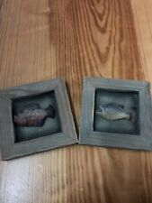 Wooden Fish Carving Decorative Framed Green Set Of 2 4.5 By 4.5 Inches