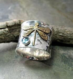 Retro 925 Silver Gem Aquamarine Dragonfly Ring Women Anniversary Christmas Gift