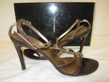 $435 DOLCE & GABBANA brown strappy heels shoes w/ pony hair T-strap SZ 37.5/7.5