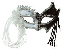 Blanco y Negro Máscara de Carnaval con Borlas Disfraz Arlequín Joker Accesorio
