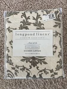 "Longpond Linens Fleur De Lis 72"" x 72"" Fabric Shower Curtain Cream Gray NIP"