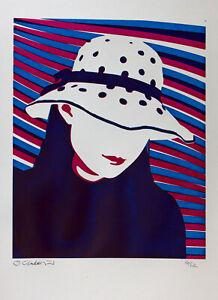 Girl in a hat Screen print hand made original design woman female decorative art