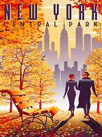 New York Central Park Retro United States Travel Advertisement Poster Print