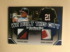 CHIPPER JONES DEION SANDERS 2019 Leaf In The Game Used ITG Jersey 30/30