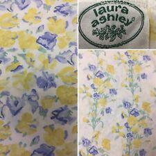 Laura Ashley Double Duvet Cover Sweetpea 100% Cotton Reversible Yellow Blue