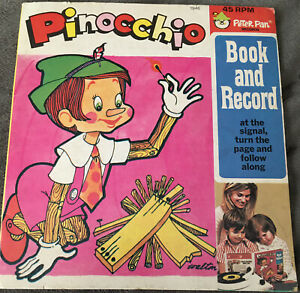 Vintage Pinocchio Peter Pan Book and Recording Record 45 RPM 1946 Walton 24 Page