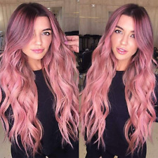 YEESHEDO Long Pink Wigs for Women Natural Wavy Curly Synthetic Hair Ombre Pink
