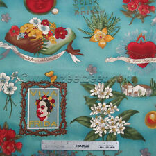 Alexander Henry VIVA FRIDA Blue Kahlo Mexico Mexican Floral Fabric by the YARD