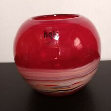 Stunning Hqt Chinese Crimson Red with Multicolor Wave Vase