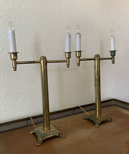 Vintage Pair of Brass Candle Stick Style Lamps