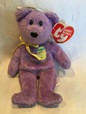 "Collectible 2002 Basket Beanies Ty Beanie Baby ""Egg Iii"" Purple Teddy Bear*"