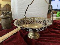 "Heavy Antique Silverplate Pierced Heart Oval Basket/Bowl w Handle.8.5x7x3.5"" w/o"
