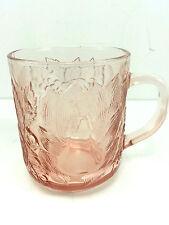 Kig Indonesia Pink Cups With Fruit Design Glass Set Of 3 Vintage