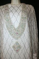 VINTAGE WHITE Beaded Pearls Lace Dress Modest Sheath WEDDING COCKTAIL Sz 6 8