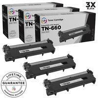 LD © 3pk Comp Black Laser Cartridge for Brother Toner TN660 L2315DW MFC-L2680W