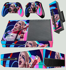 XBOX ONE CONSOLE STICKER HARLEY QUINN 02 SUICIDE SQUAD RED BLUE SKIN & PAD SKINS