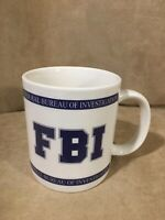 Large Silver Phoenix FBI Coffee Mug 16 Oz Blue & White