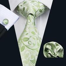USA Green Mens Silk Tie Floral Necktie Set Gift For Men Jacquard Woven B-1162