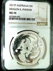 NGC MS70-Australia 2017P Dragon & Phoenix Silver $1 Perfect GEMBU