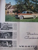 PUBLICITÉ 1958 SIMCA BEAULIEU CHAMBORD VEDETTE - ADVERTISING