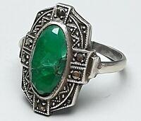 Antiker 935 Silber Ring Deutschland um 1900 natürlicher Smaragd & Markasiten 52