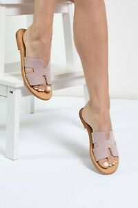Ancient Greek style beige suede flat real leather h slide sandals handmade