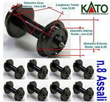KATO SET N.8 ASSI-ASSALI-AXLES-ESSIEUX-EJES LARGHEZZA mm.10,89 NERI in SCALA-N
