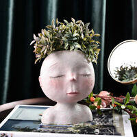 KQ_ Cartoon Head Statue Succulent Plant Resin Flower Vase Bonsai Pot  Desktop Ea