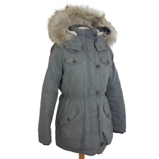 HOLLISTER Womens Down Filled Winter Coat Size Large UK 14-16 Hooded Grey