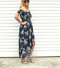 NEW LADIES OFF THE SHOULDER FLORAL PRINT MAXI DRESS - NAVY SIZE 8-14 ON SALE