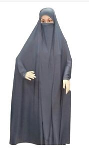 Abaya Jilbab Hijab Muslim women dress with Niqab black Lycra material Arab style