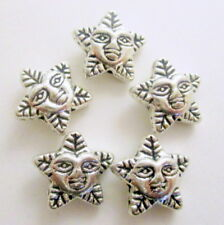 10  Star Leaf Pentagram Antique Silver Beads, 12x11mm Star Beads, Beads G1572