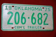 1975 OKLAHOMA License Plate  *** COMMERCIAL TRAILER ***  COM'L ***  '75 OK