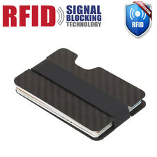 RFID Blocking Carbon Fiber Money Clip Slim Mens Minimalist Wallet ID Card Holder