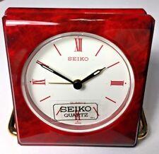 SEIKO Travel Alarm Clock /  Burgundy Marble Pattern / Carrying Pouch / QQQ183R