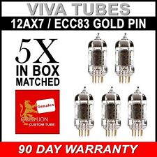 New Matched Quintet Reissue Genalex Gold Lion 12AX7 / ECC83/B759 GOLD PIN Tubes