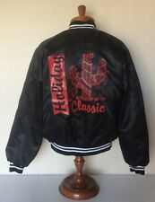 Vtg 1990 Holiday Classic Gilbert Arizona Black Satin Bomber Jacket Mens Xl