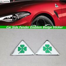 2Pcs Alfa Romeo Quatrefoil Green Delta Car Side Fender Emblem Badge Sticker
