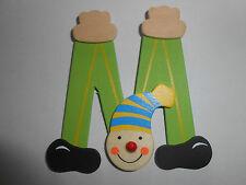 Lettre prenom de porte clown en bois M VERT, décoration de porte jeu et jouets**