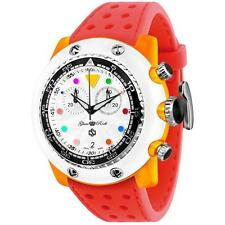 GLAM ROCK MEN'S MIAMI BEACH 50MM RED SILICONE BAND QUARTZ ANALOG WATCH GR20150