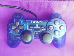 PS2 Wired Controller -DualShock 2 - Transparent Blue Color - Athentic, Tested