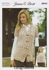 JAMES C BRETT JB333 WAISTCOATS FLUTTERBY ANIMAL PRINT KNITTING PATTERN -3 STYLES